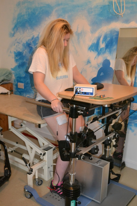 FES for standing.. There are some electrodes on my quads...