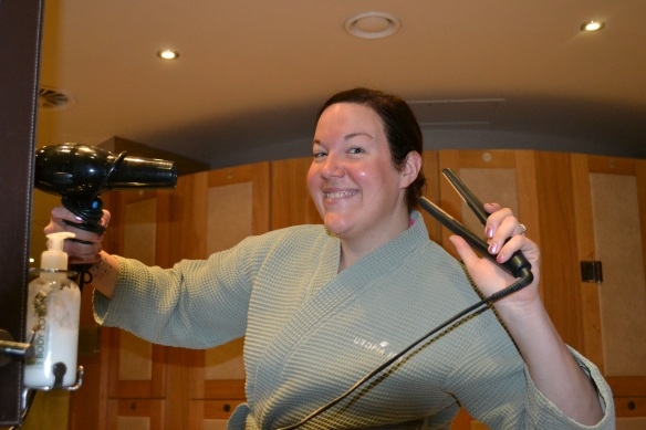 Fiona was very excited that there were GHDs in the changing room!!
