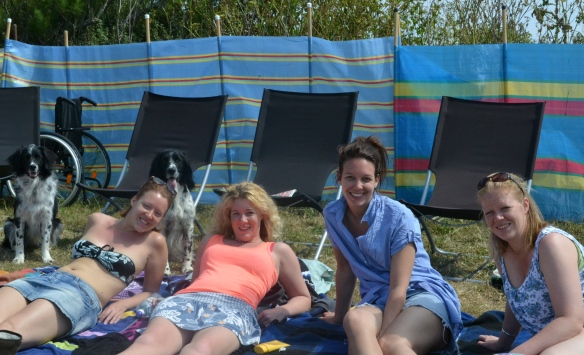 My post injury trip to Cornwall... I didn't want to go on the beach so my amazing family decided we would all sunbathe on the grassy area next to the beach :)